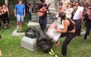 Durham Statue - Vandals - Kicking
