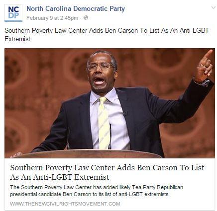NCDEMS FB SPLC Ben Carson