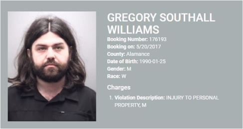 052017 Arrest - graham nc - Williams, Gregory