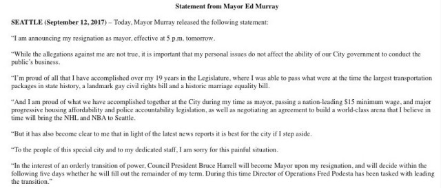 Resignation Statement - Ed Murray - Seattle Mayor