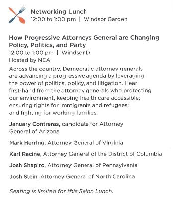 2018 Spring Conference - Josh Stein - Progressive AGS - Democracy Alliance
