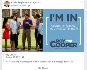 01315 Chris Anglin FB - Roy Cooper Campaign Launch Share