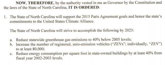 EO Paris Agreement - Roy Cooper