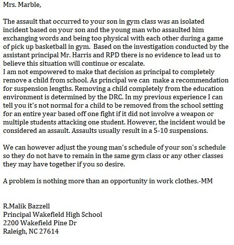Principal Bazzell - Letter 1 - Williams-Marble - wcpss - wakefield high