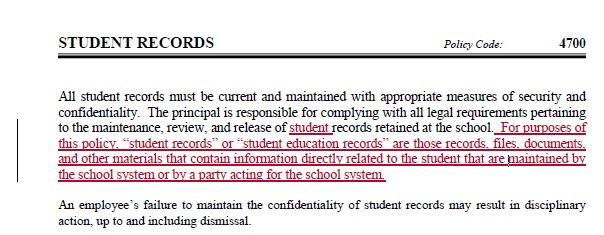 WCPSS - Student Records - policy