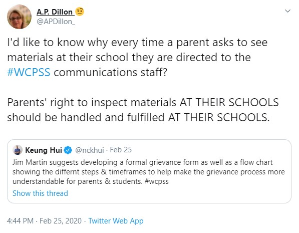 2020-02-26 APD to HUI - Parent greivances WCPSS